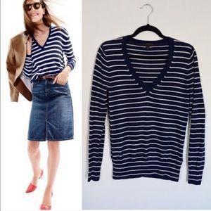 J Crew Cotton V-neck Stripe Sweater